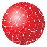 Abstrakt modell av röda geometriska beståndsdelar som grupperas i en cirkel Arkivfoto