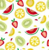Abstrakt modell för vektor för halvasnittfrukter Vit bakgrund Barn- design stock illustrationer