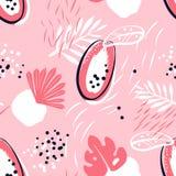 Abstrakt modell med papayaen och tropiska växter på rosa bakgrund Prydnad för textil och inpackning vektor illustrationer
