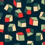abstrakt modell Sömlös geometrisk tapetbakgrund med fyrkanter också vektor för coreldrawillustration Ändlös mörk bakgrund Fotografering för Bildbyråer