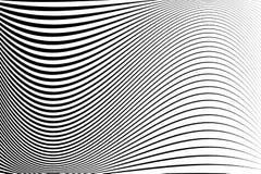 abstrakt modell Textur med krabba böljande linjer optisk konstbakgrund Svartvit vågdesign stock illustrationer