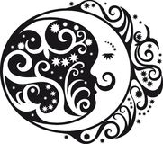 Abstrakt modell, växande måne och solsymbol Royaltyfri Foto