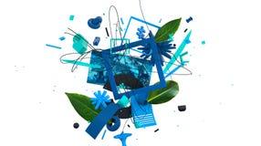 Abstrakt moderiktig bakgrund med konstiga objekt och former vektor illustrationer