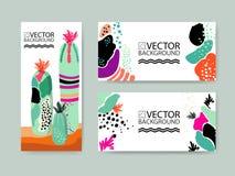 Abstrakt moderiktig illustrationbakgrund, plakatet, den blom- stiliserade suckulenta växten för kaktus, stillägenheten och 3d pla Arkivfoton