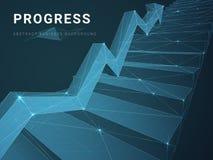 Abstrakt modern affärsbakgrundsvektor som visar framsteg med linjer i form av en trappuppgång med en pil på blå bakgrund stock illustrationer