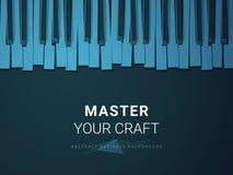 Abstrakt modern affärsbakgrundsvektor som visar herravälde av ett hantverk i form av ett stiliserat pianotangentbord på blå bakgr royaltyfri illustrationer