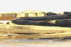 Abstrakt modern framtida arkitektur innehåller konstig-formade byggnader i form av spiral som uppåt riktas facade royaltyfri illustrationer