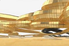Abstrakt modern framtida arkitektur inneh?ller konstig-formade byggnader i form av spiral som upp?t riktas facade vektor illustrationer