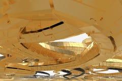Abstrakt modern framtida arkitektur inneh?ller konstig-formade byggnader i form av spiral som upp?t riktas facade stock illustrationer