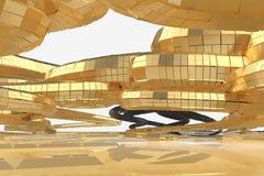 Abstrakt modern framtida arkitektur inneh?ller konstig-formade byggnader i form av spiral som upp?t riktas facade royaltyfri illustrationer