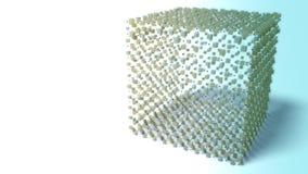 Abstrakt molekylär kubstruktur stock video