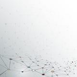 Abstrakt molekyl på grå färgfärgbakgrund nätverk för futuristiskt teknologibegrepp Royaltyfri Bild