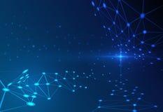 Abstrakt molekyl på mörker - blå bakgrund nätverk för futuristiskt teknologibegrepp Arkivfoton