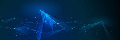 Abstrakt molekylbaner med linjen som är geometrisk, polygon Bakgrund för vektordesignnätverk stock illustrationer
