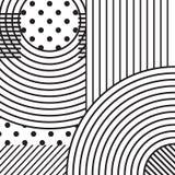 Abstrakt monokrom bakgrund, kurvlinjer och prickar Fyrkantig banerbakgrund royaltyfria foton