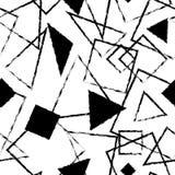 Abstrakt monokrom sömlös modell med trianglar och fyrkanter Arkivbilder