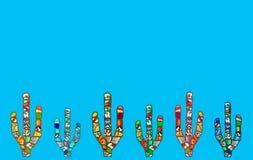 Abstrakt mosaikkaktusillustration (ljus - blå bakgrund) Fotografering för Bildbyråer