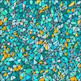 Abstrakt mozaiki kwadratowego tła błękitna i żółta round płytka Obraz Royalty Free