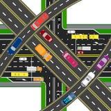 Abstrakt, multilevel przewieziony centrum Skrzyżowania różnorodne drogi Transport ilustracja Zdjęcia Royalty Free