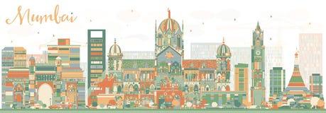 Abstrakt Mumbai horisont med färggränsmärken vektor illustrationer