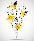 Abstrakt musikalisk bakgrund med anmärkningar Arkivbild