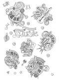 Abstrakt musikbakgrund, collage med musikinstrument Handteckningsklotter, vektorillustration stock illustrationer