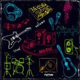 Abstrakt musikbakgrund med musikinstrument Fotografering för Bildbyråer