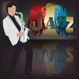 Abstrakt musikillustration med saxofonspelaren Arkivbilder