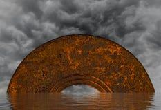 Abstrakt mystisk halv-cirkulär valvgång i havet med mörker c Arkivfoton