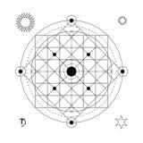 Abstrakt mystiskt geometrisymbol Tecken för alkemi för vektor linjärt ockult och filosofisk, Arkivfoton