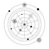 Abstrakt mystiskt geometrisymbol Tecken för alkemi för vektor linjärt ockult och filosofisk, Arkivbilder