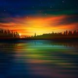 Abstrakt naturbakgrund med soluppgång Arkivfoto