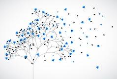 Abstrakt naturbakgrundsträd med blåa blommor vektor illustrationer