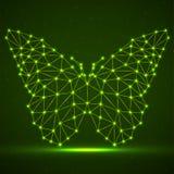 Abstrakt neonfj?ril av linjer och prickar, gl?dande polygonal geometrisk struktur stock illustrationer