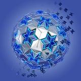 Abstrakt niska poli- sfera z gwiazdy strukturą Obrazy Royalty Free