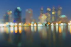 Abstrakt, noc pejzażu miejskiego światła plamy bokeh, defocused tło Zdjęcia Stock