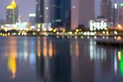 Abstrakt, noc pejzażu miejskiego światła plamy bokeh, defocused tło Fotografia Royalty Free