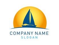 Abstrakt nowożytny żagiel łodzi logo na białym tle ilustracji