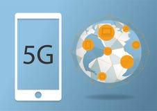 abstrakt ny trådlös internetuppkopplingbakgrund för vektor 5G Snabbt n?tverk f?r globalt n?tverk Polygonal stil symbol 5G på stock illustrationer