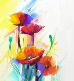 Abstrakt olje- målning av vårblomman Stilleben av rosa och röd vallmo den guling,
