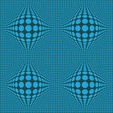 Abstrakt Op konst för optisk illusion med blåa prickar på mörkt - grön bakgrund royaltyfri illustrationer