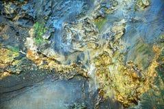 Abstrakt organisk guld- vit hypnotisk bakgrund för blå brunt Arkivfoto