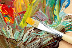 Abstrakt paint and paintbrush. As background Royalty Free Stock Photography