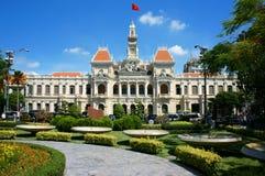 Abstrakt panaroma av folks kommitté av den Ho Chi Minh staden Arkivbilder