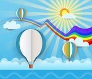 Abstrakt papper klippte med solsken, havet, molnet och ballongen på ljus - blå bakgrund Ballongutrymme för ställe din textdesign Arkivbilder
