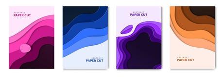 Abstrakt papper klippte vätskerengöringsdukbaner och vätskebroschyrer Pappers- vågbakgrund med effekt 3d vektor illustrationer
