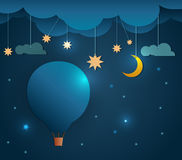 Abstrakt pappers- snitt-varm luftballong och måne med stjärna-molnet och himmel på natten Tomt utrymme för din design Royaltyfria Bilder