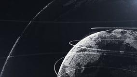 abstrakt partikel Skördfoto Vit planet inom den vita veilted, skapat av prickar Sammanlagd svart dackdrop little stock illustrationer
