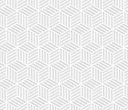 Abstrakt paskował sześcianu geometrycznego bezszwowego wzór w czarny i biały, wektor Zdjęcia Stock