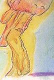 Abstrakt Pastell-målning med skuggor av olika färger över enteckning royaltyfri illustrationer